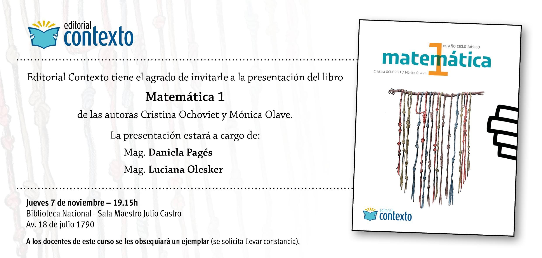 Presentación del libro Matemática I de las profesoras Cristina Ochoviet y Mónica Olave